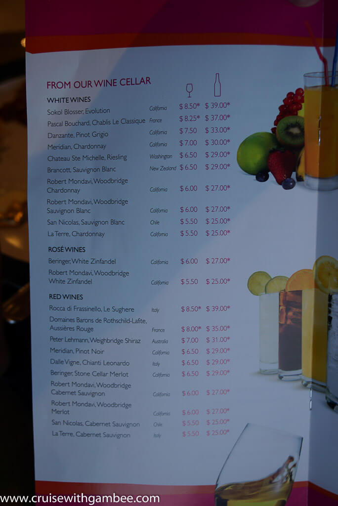 MSC Cruises Drink lists with prices. – cruise with gambee