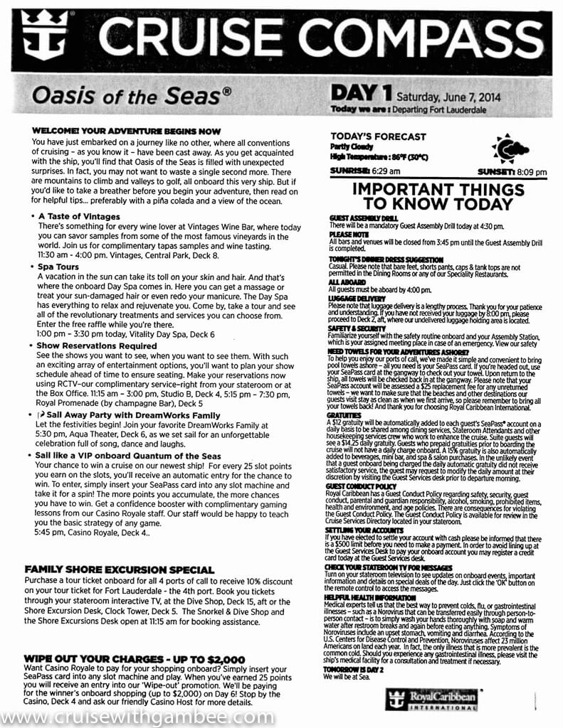 Oasis of the Seas Cruise Compass daily