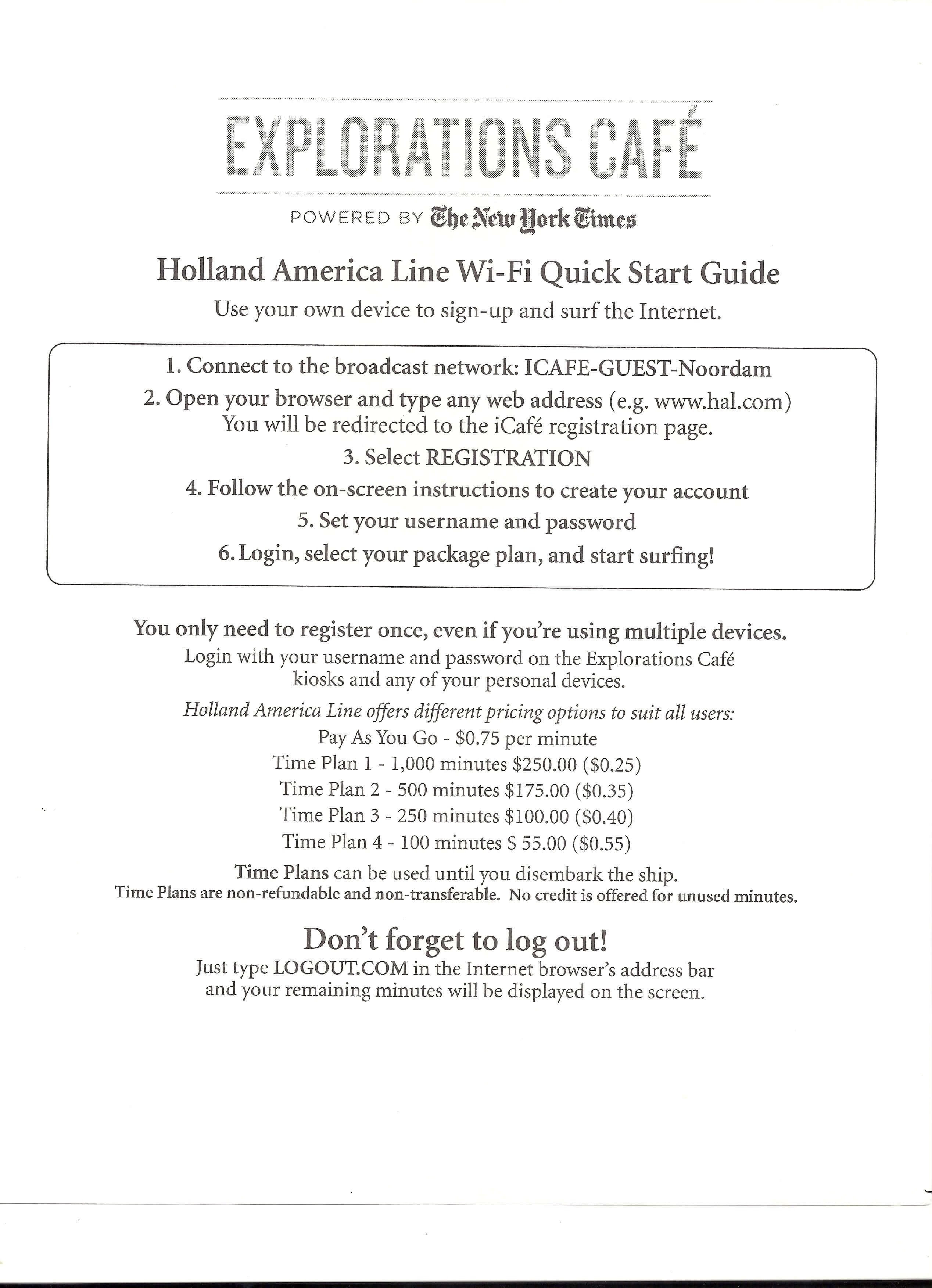 Holland America Wi-Fi prices
