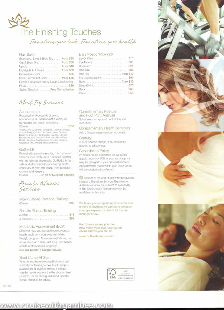Holland America Spa products and prices-14