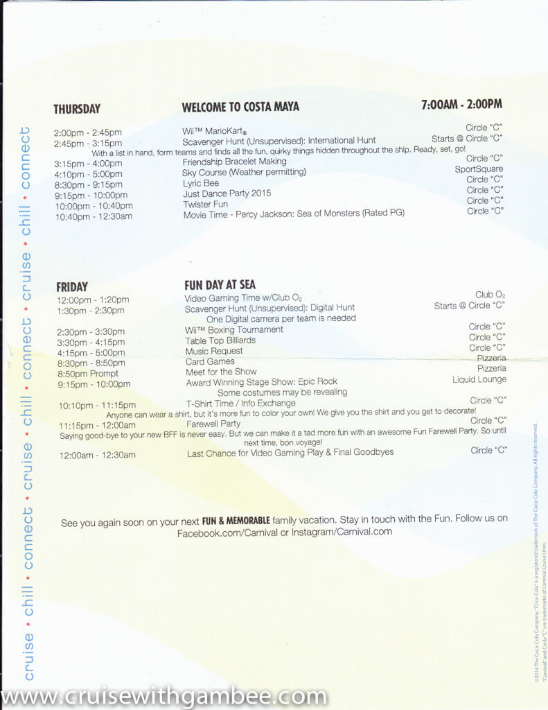 Carnival Circle C kids and Teens programs Schedule-4