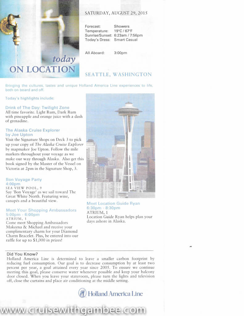 Holland America On Location Daily Papers - Westerdam Alaska