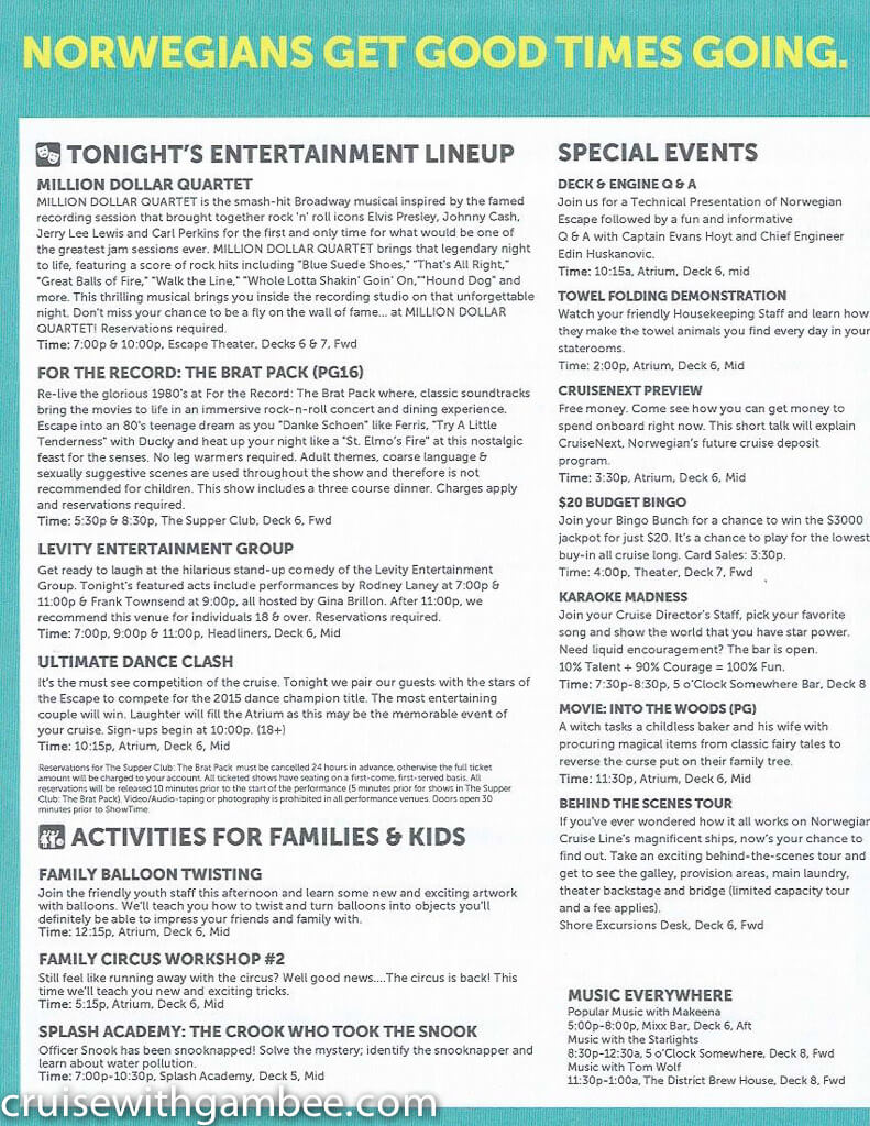 Norwegian Escape Daily eastern itinerary paper-15