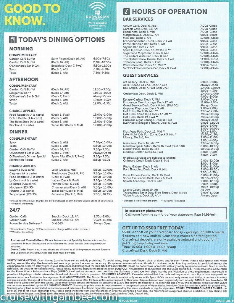 Norwegian Escape Daily eastern itinerary paper-17