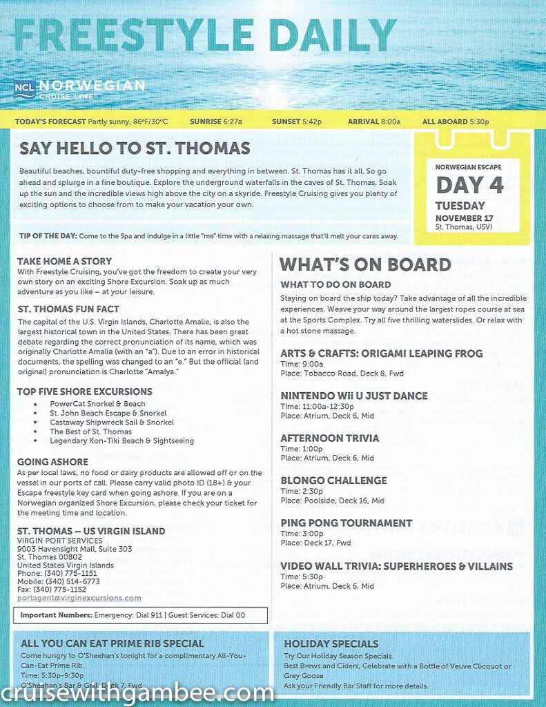 Norwegian Escape Daily eastern itinerary paper-20