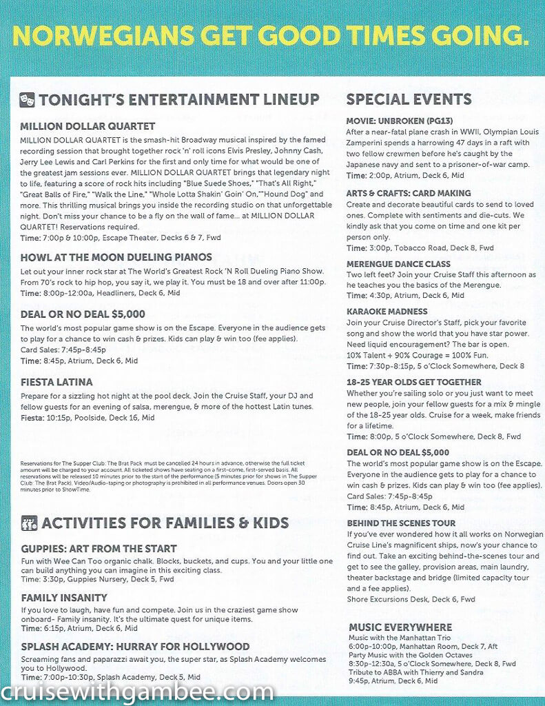 Norwegian Escape Daily eastern itinerary paper-23