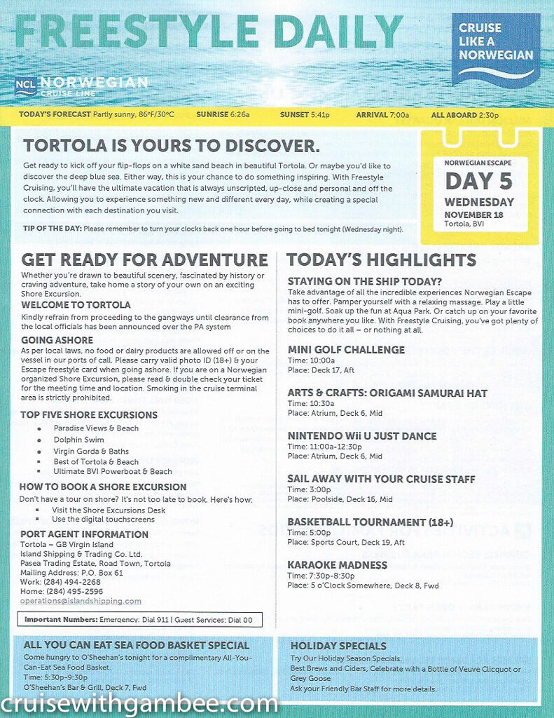 Norwegian Escape Daily eastern itinerary paper-25