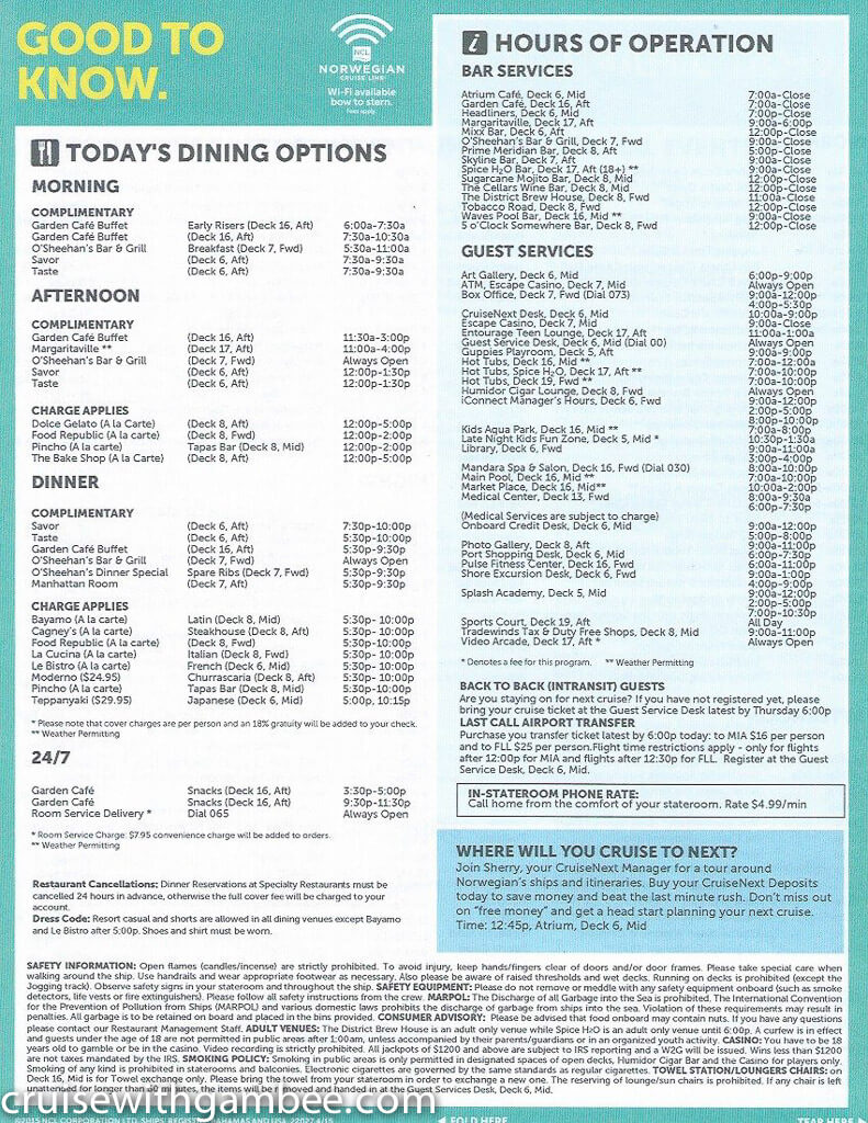 Norwegian Escape Daily eastern itinerary paper-32