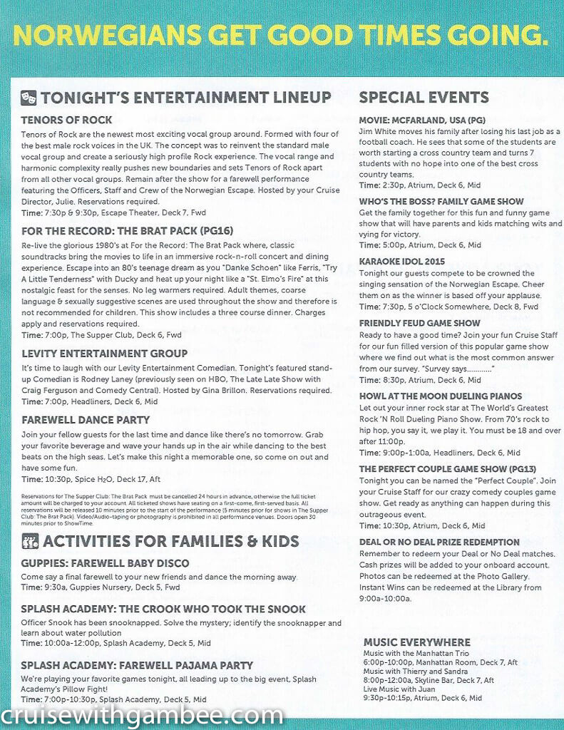 Norwegian Escape Daily eastern itinerary paper-35