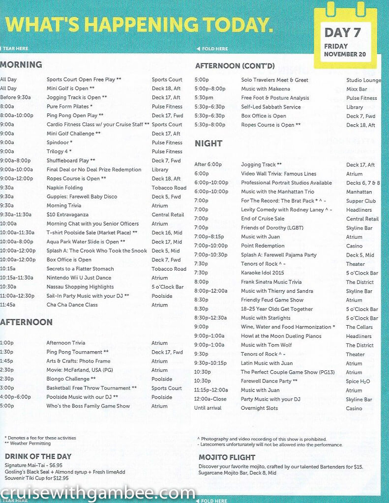 Norwegian Escape Daily eastern itinerary paper-36
