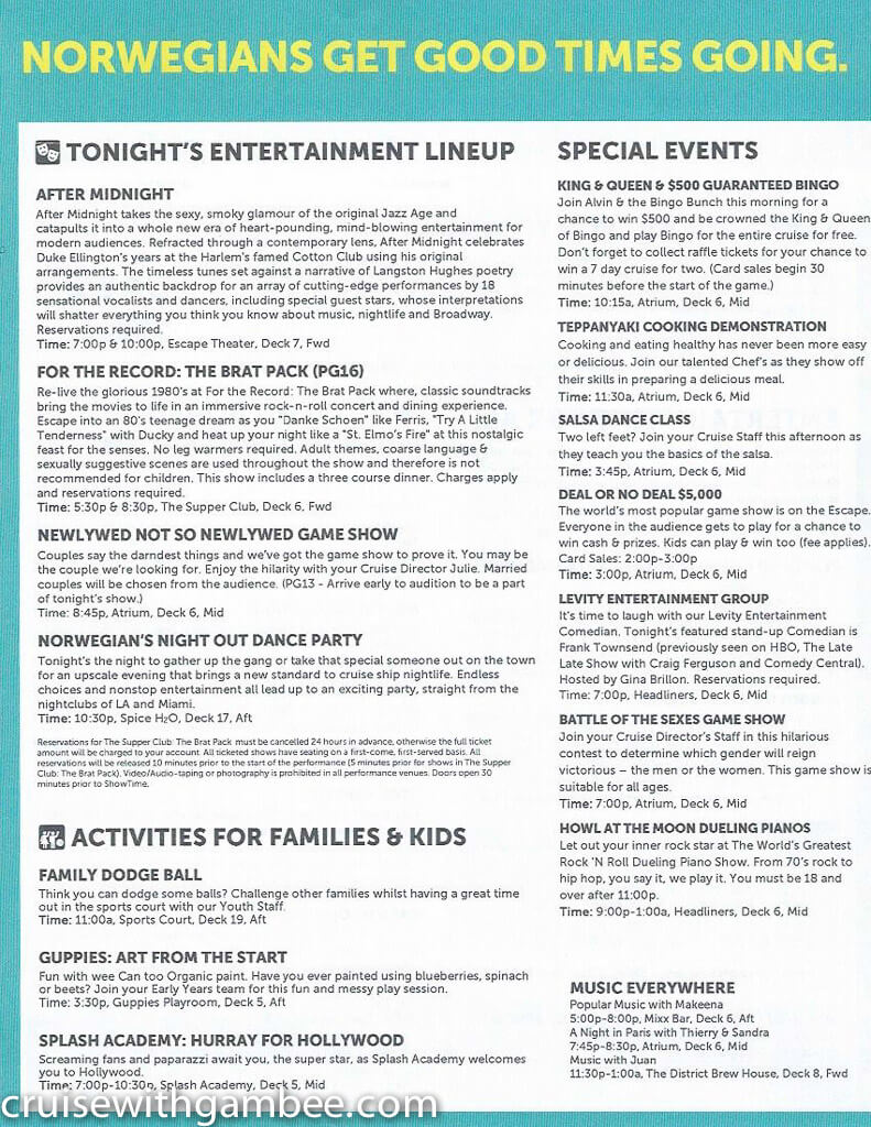 Norwegian Escape Daily eastern itinerary paper-8