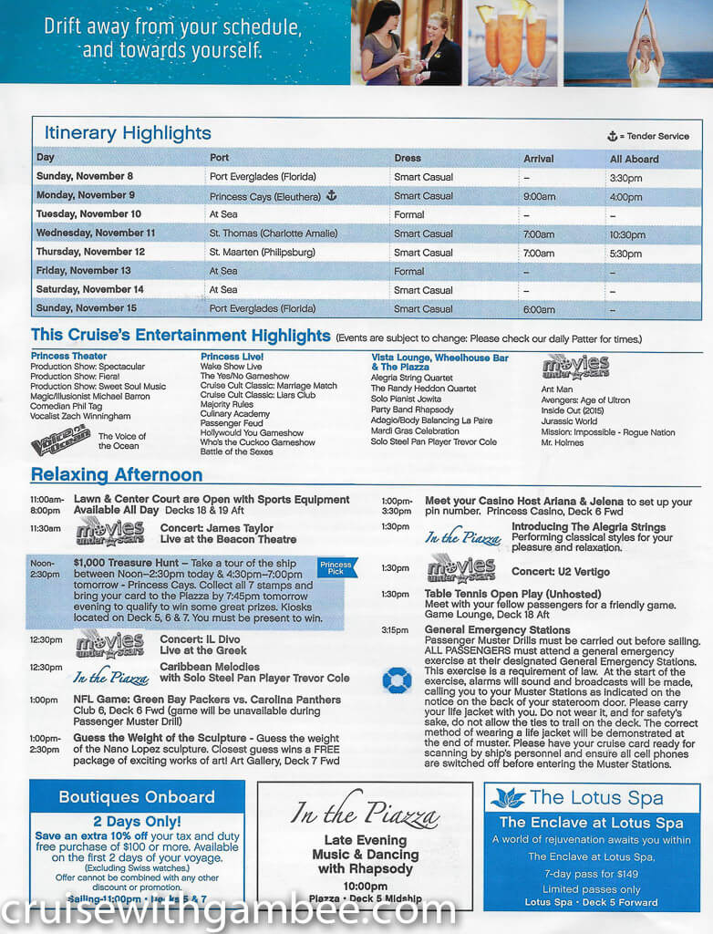 Regal Princess Patter Daily Guide-12