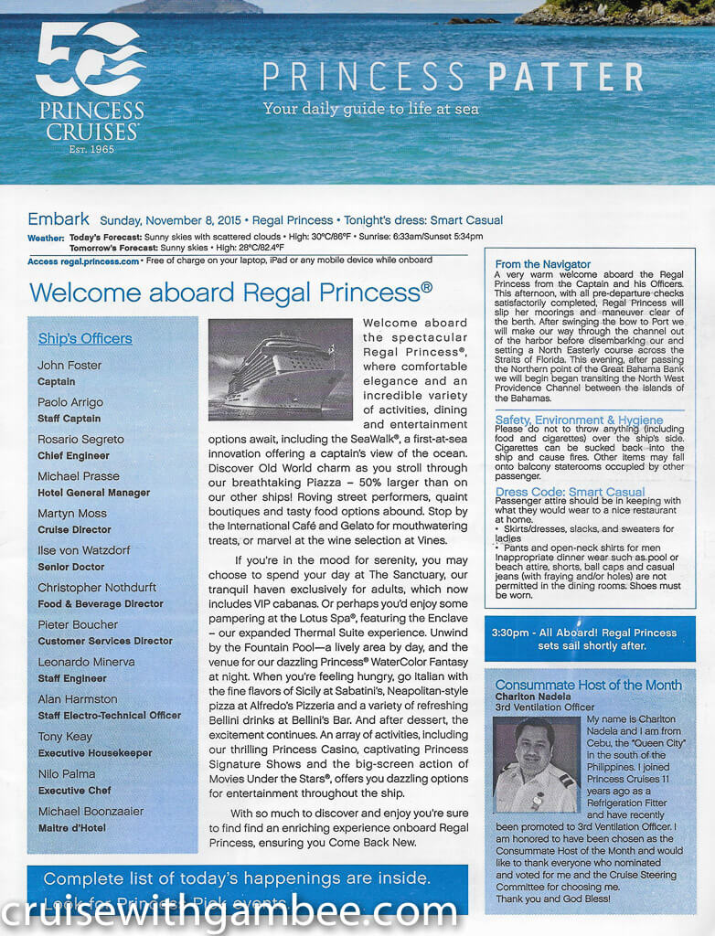 Regal Princess Patter Daily Guide-13