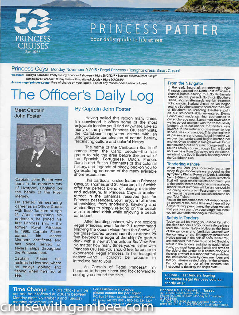 Regal Princess Patter Daily Guide-17