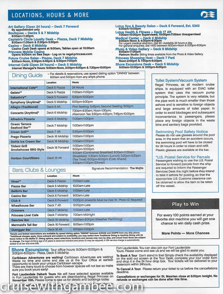 Regal Princess Patter Daily Guide-22