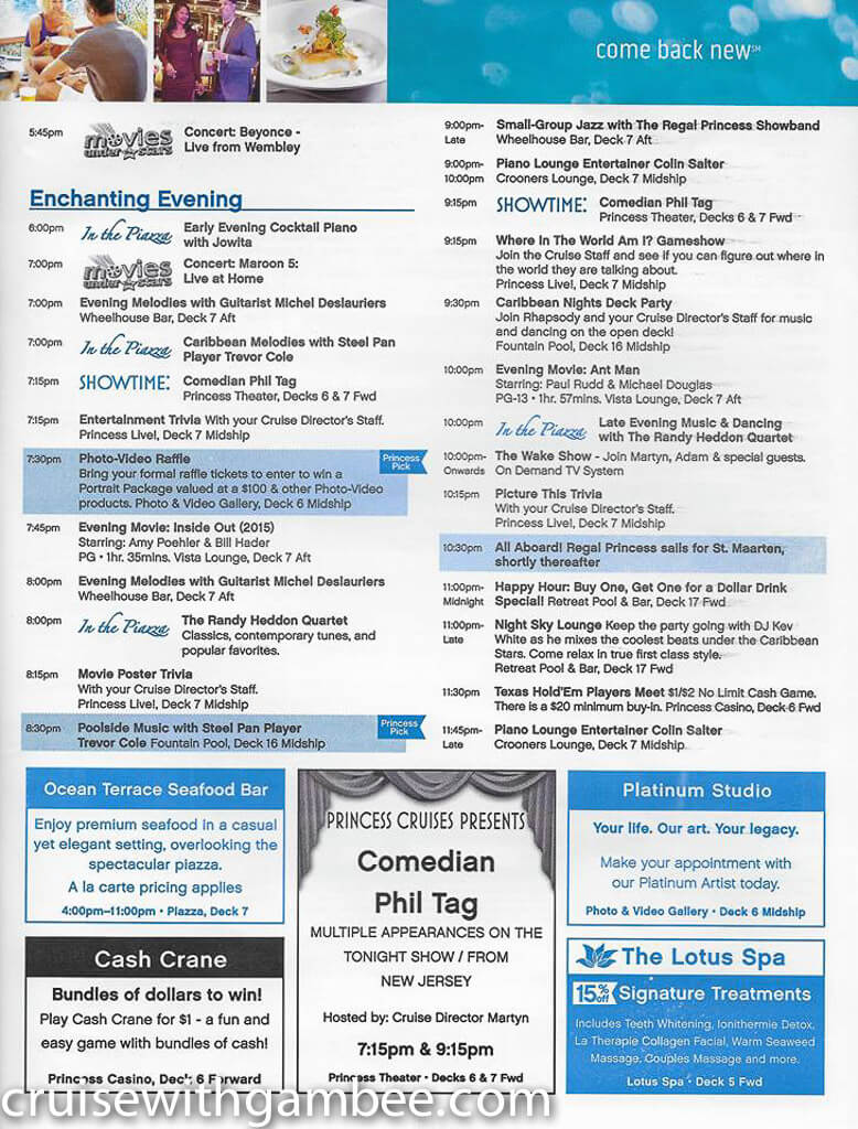 Regal Princess Patter Daily Guide-26