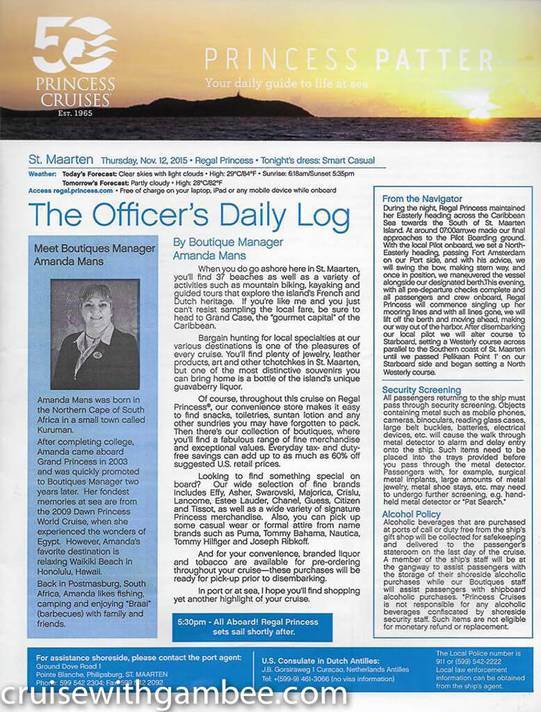 Regal Princess Patter Daily Guide-30