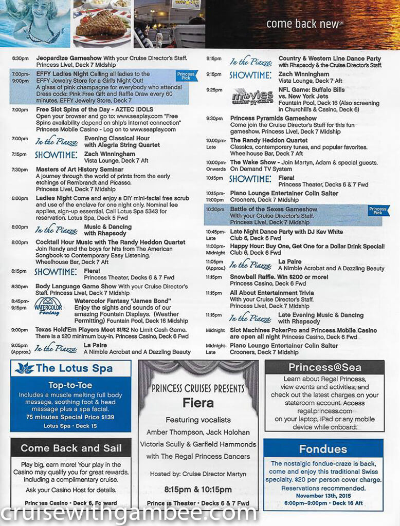 Regal Princess Patter Daily Guide-31