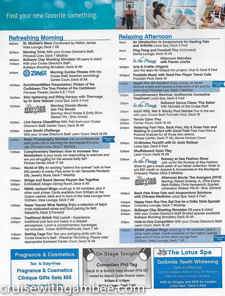 Regal Princess Patter Daily Guide-4