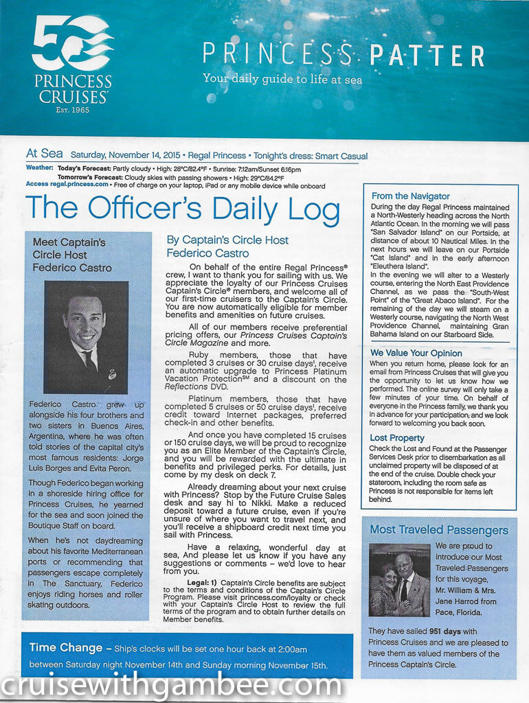 Regal Princess Patter Daily Guide-6