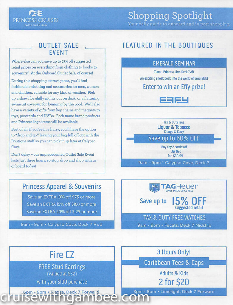 Regal Princess Patter Daily Guide-7