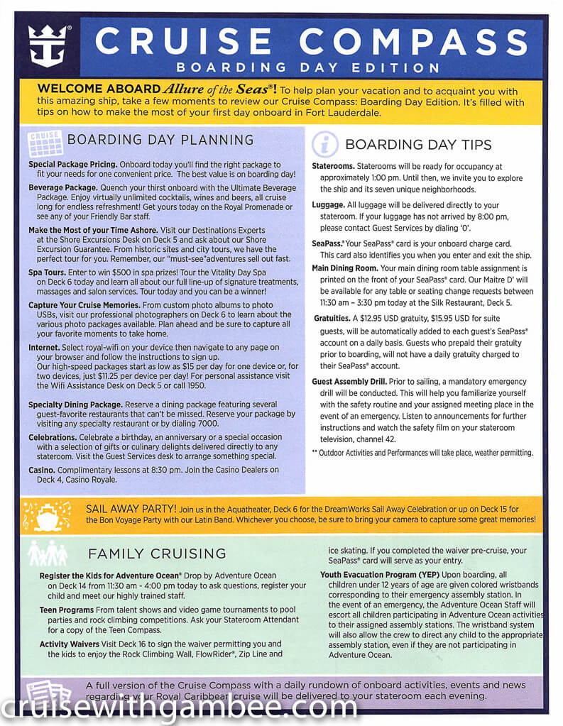 Royal Caribbean Allure of the Seas Compass Daily Paper-1