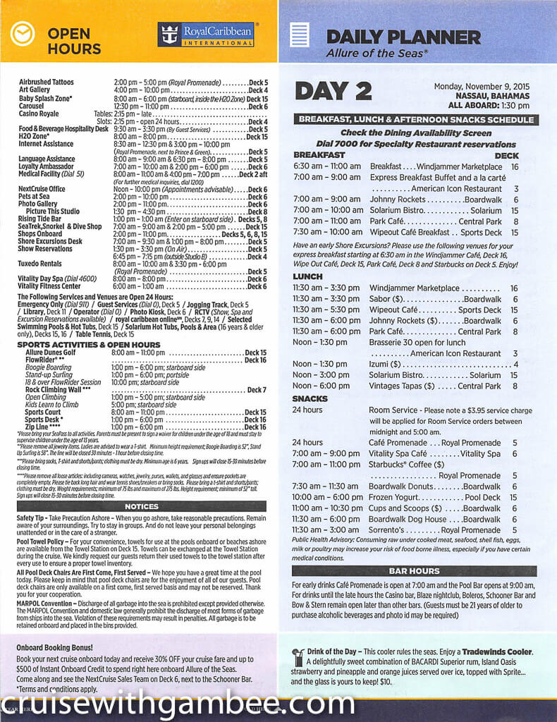 Royal Caribbean Allure of the Seas Compass Daily Paper-10