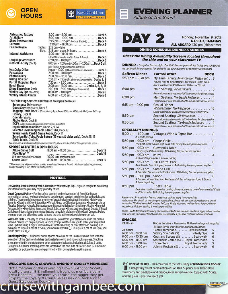 Royal Caribbean Allure of the Seas Compass Daily Paper-12