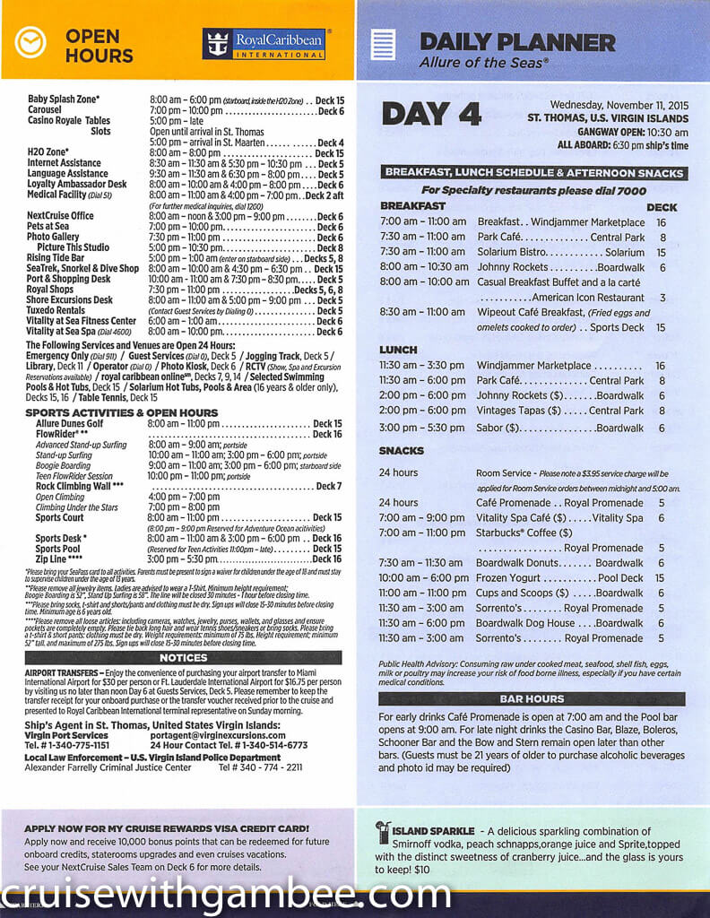 Royal Caribbean Allure of the Seas Compass Daily Paper-22