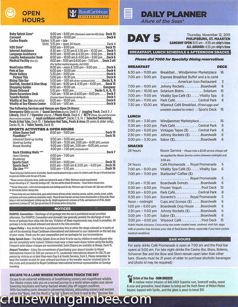 Royal Caribbean Allure of the Seas Compass Daily Paper-28
