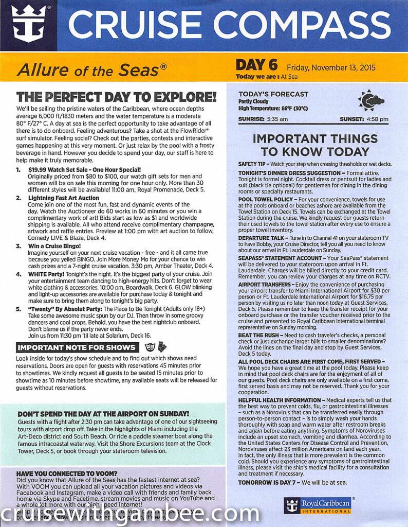 Royal Caribbean Allure of the Seas Compass Daily Paper-32