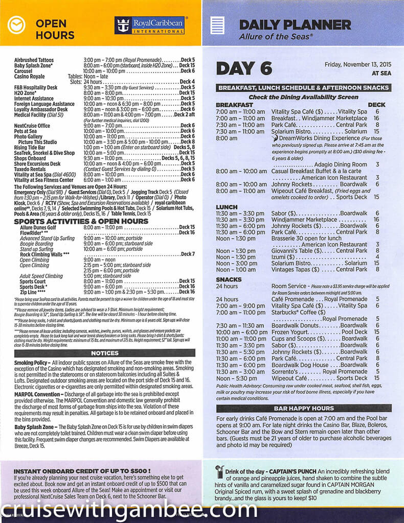Royal Caribbean Allure of the Seas Compass Daily Paper-34