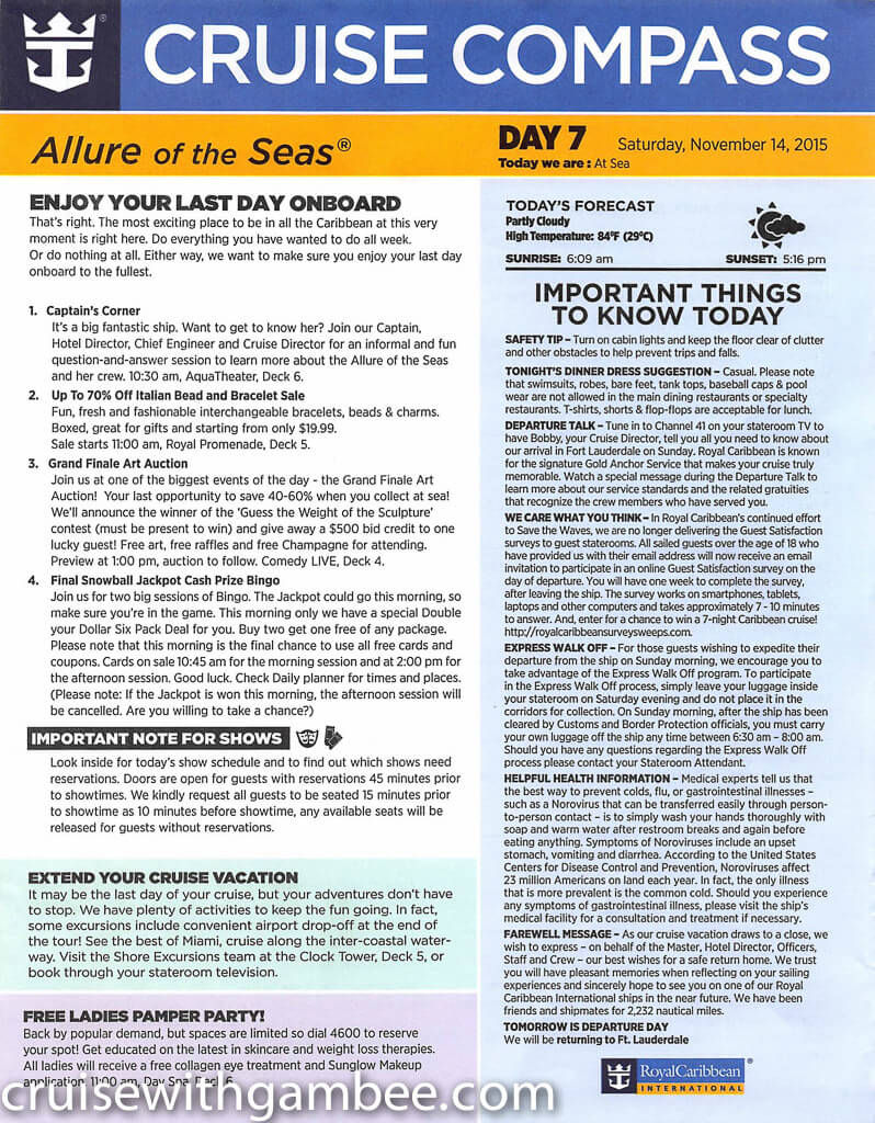 Royal Caribbean Allure of the Seas Compass Daily Paper-38