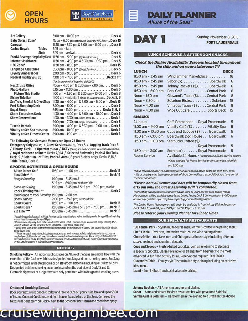 Royal Caribbean Allure of the Seas Compass Daily Paper-4