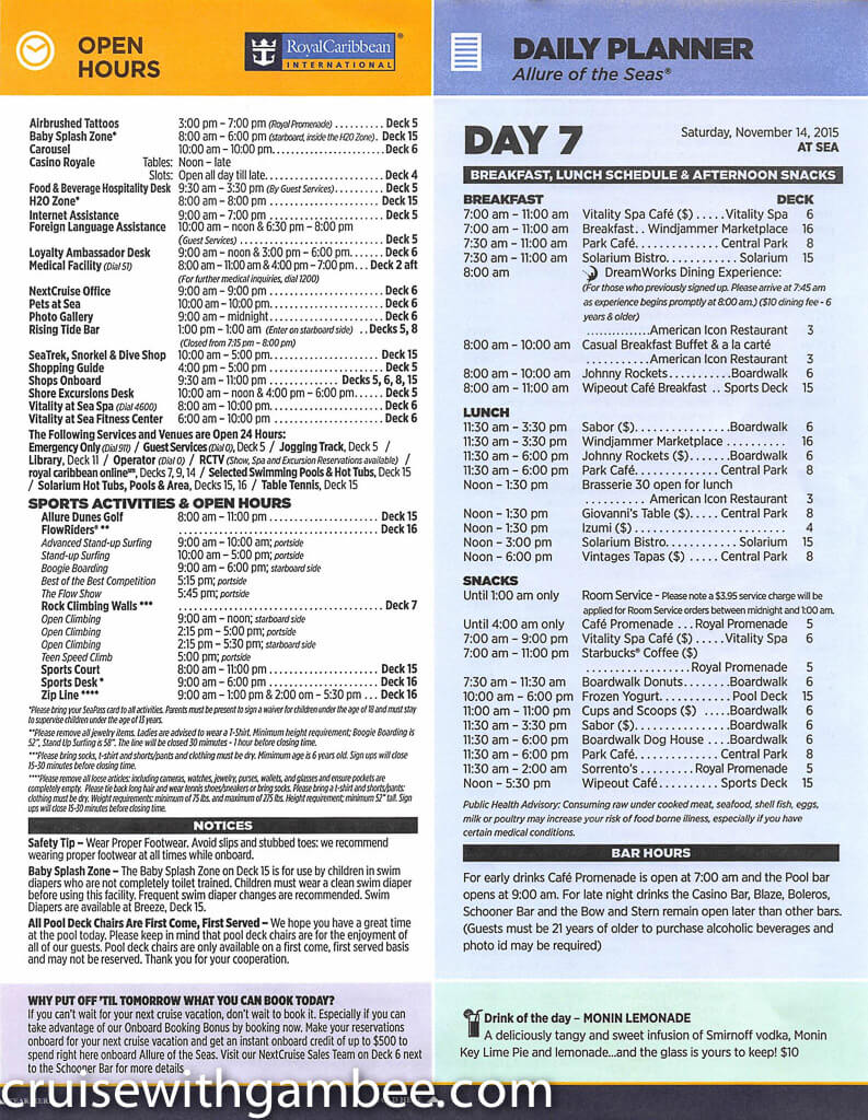 Royal Caribbean Allure of the Seas Compass Daily Paper-40