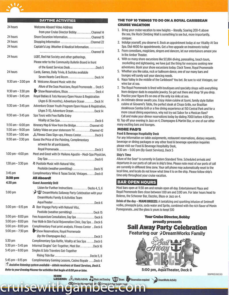 Royal Caribbean Allure of the Seas Compass Daily Paper-5