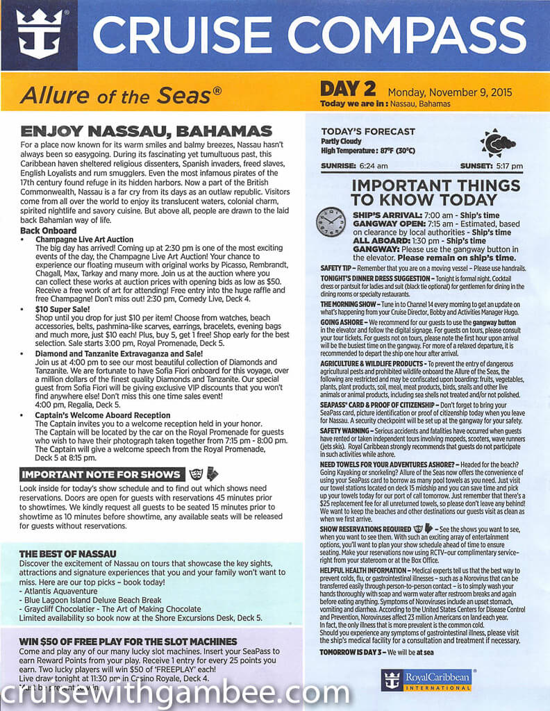 Royal Caribbean Allure of the Seas Compass Daily Paper-8