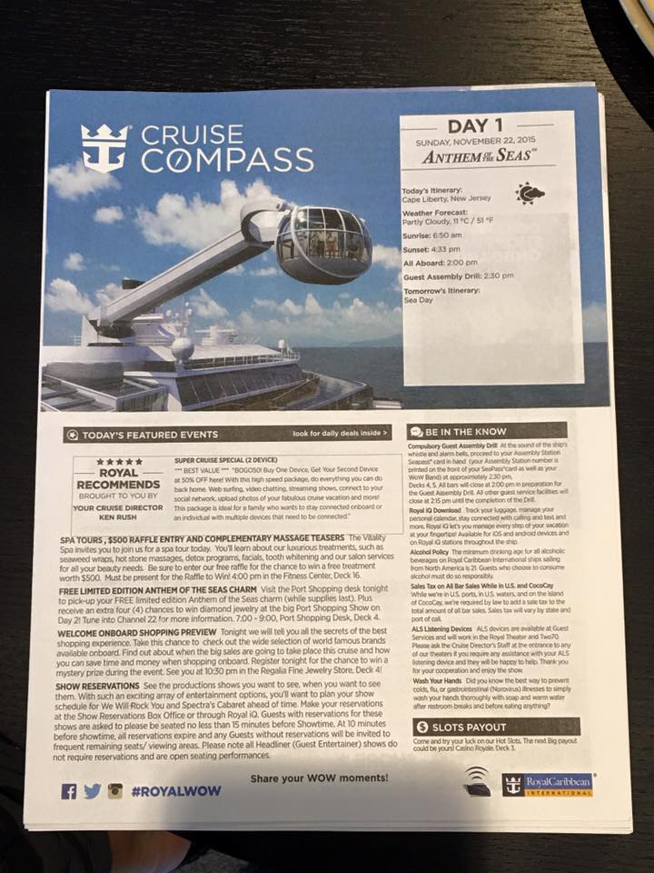 anthem of the seas compass day 1-1