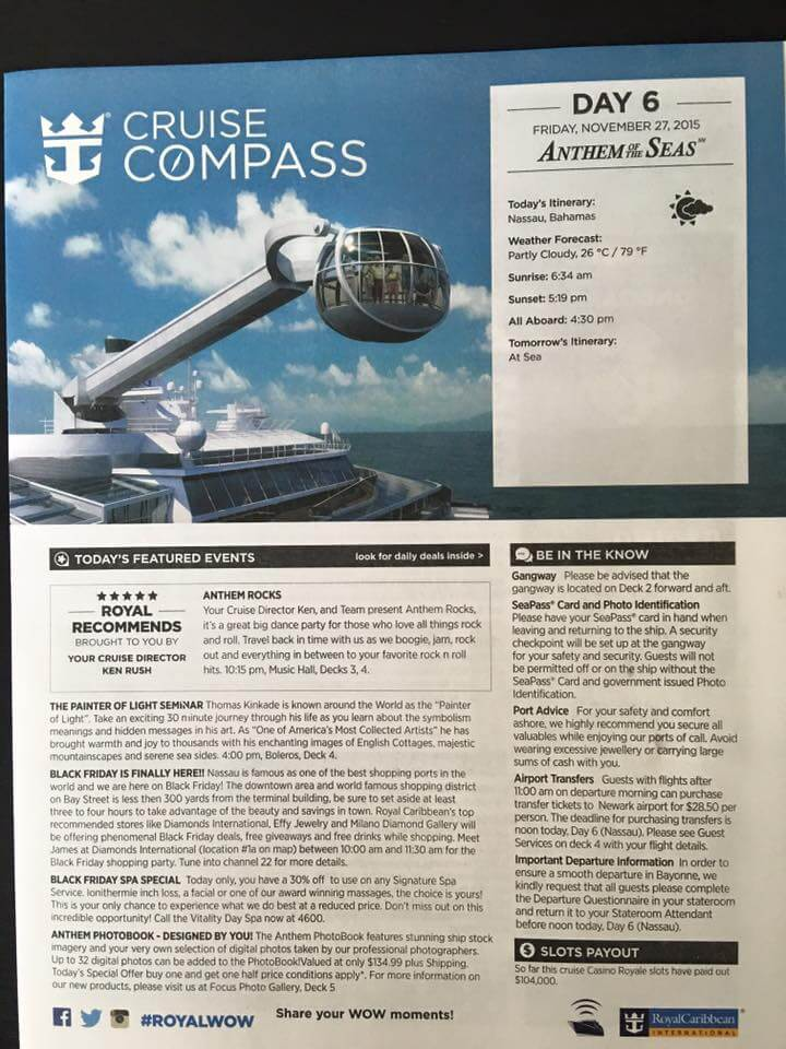 anthem of the seas compass day 6-1