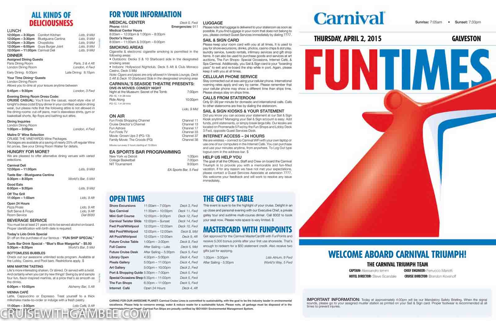 Carnival Triumph Funtimes Daily Itinerary Cruise With Gambee