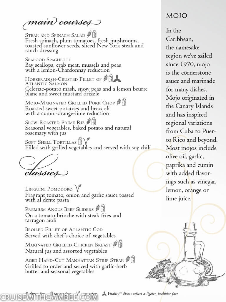 Royal Caribbean Main Dining Room Menu 2018